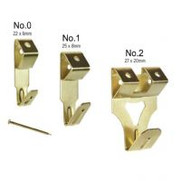 Standard No.2 Picture Hook with Pins - Brass Plated